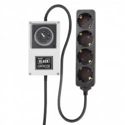 LUMii BLACK Relais - Zeitschaltuhr mit 4-fach Steckerleiste Schuko