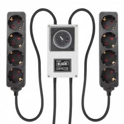 LUMii BLACK Relais-Zeitschaltuhr mit 2x 4-fach Steckerleiste Schuko